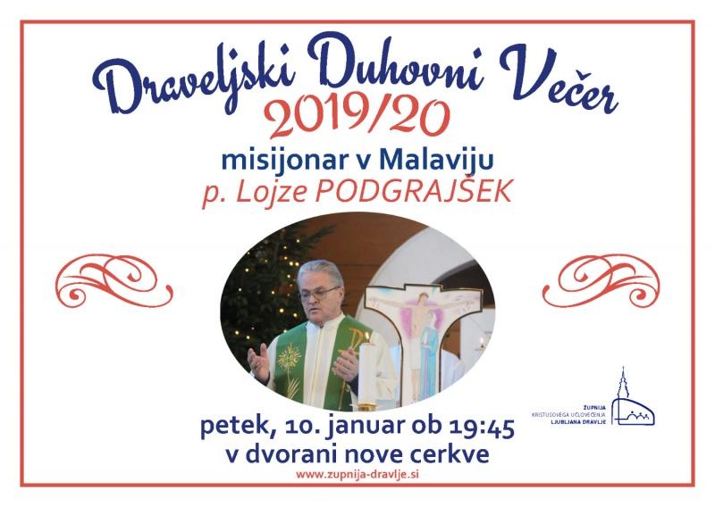 Vabilo na draveljski duhovni večer:  p. Lojze Podgrajšek