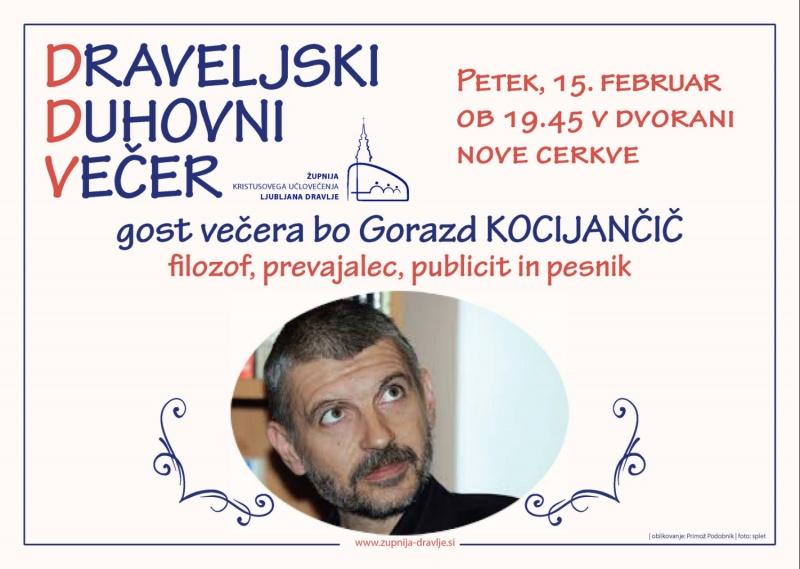 Vabilo na draveljski duhovni večer: Gorazd Kocijančič